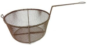 Vintage Antique Large Deep 11 5 Wire Frying Basket Rusty Primitive Rustic