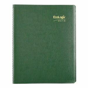 Brownline 2016 Ecologix Weekly Planner Twin wire Green 11 X 8 5