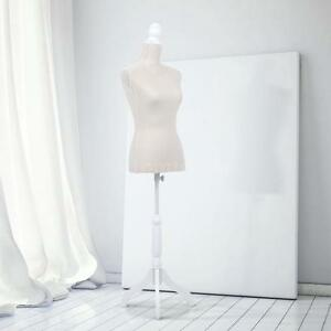 Beige Color Female Mannequin Torso Dress Form W tripod Stand Linen Pinnable K8b1