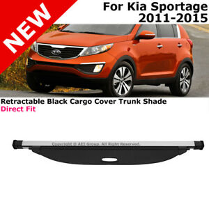 For Kia Sportage 2011 2016 Pull Out Black Cargo Cover Rear Trunk Luggage Shade