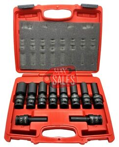 New 10pc 1 2 Drive Universal Swivel Deep Impact Socket Set Sae Pro Radius Set