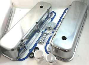 Bb Chevy Bbc Tall Polished Aluminum Smooth Valve Covers W Breathers 396 427 454