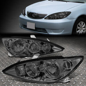For 05 06 Toyota Camry Smoked Housing Clear Corner Headlight Replacement Lamps