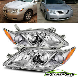 For 2007 2009 Toyota Camry Jdm Chrome Projector Headlights Head Lamps Assembly