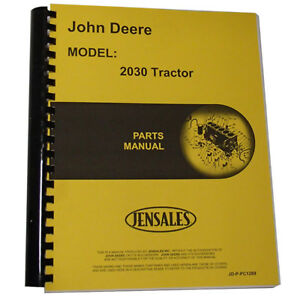 New Parts Manual For John Deere 2030 Tractor
