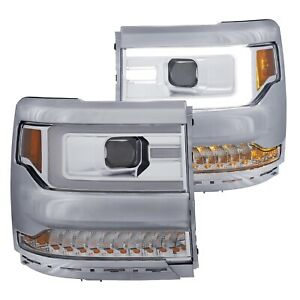 Anzo 111374 Chrome Plank Style Projector Headlights W amber For Silverado 1500