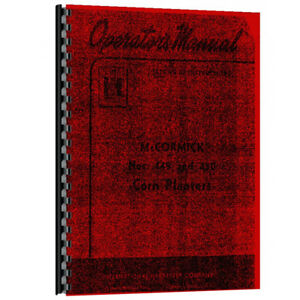 New Operators Manual Made For Case ih 4 Row Corn Planter Model 449