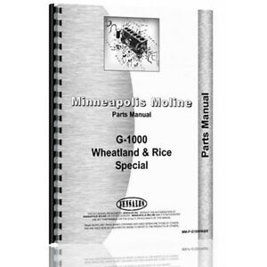 Minneapolis Moline G1000 Wheatland Rice Parts Manual 132 Pages