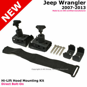 Jeep Wrangler 07 17 Jk Unlimited Offroad Hi lift Hood Mount Bracket Black