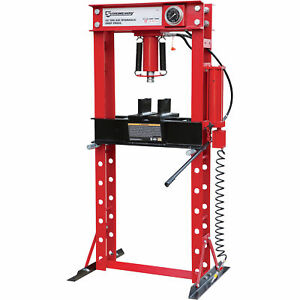 Strongway Air Hydraulic Shop Press With Gauge 40 Ton Capacity