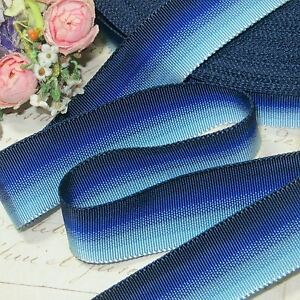 1y 7 8 Vtg French Blue Ombre Grosgrain Ribbon Work Trim Cloche Hat Cocarde