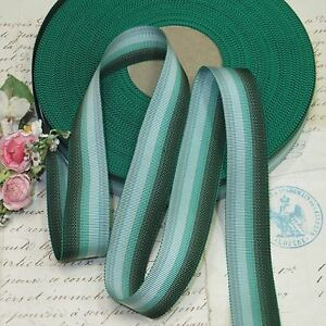 1y 7 8 Vtg French Hunter Green Ombre Grosgrain Ribbon Work Trim Hat Fedora Antq