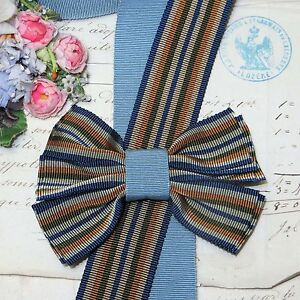 1y 1 25 French Navy Blue Stripe Grosgrain Ribbon Trim Hat Jacquard Vtg Fedora