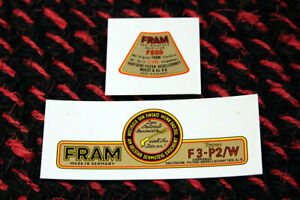 Vw Flat 4 Vintage Porsche 356 Fram F3 P Water Decal Set Oil Filter Lid