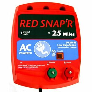 New Fi shock Eac25m rs Red Snap r 25 Mile Electric Fencer Low Impedance 6964506