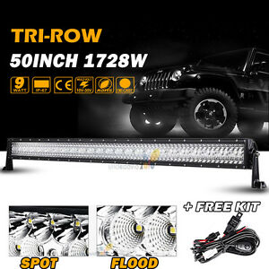 New Tri Row 50 In 1728w Cree Led Work Light Bar Combo Jeep Boat Truck Straight