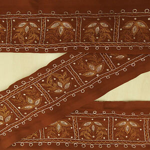 Vintage Saree Border Indian Brown Embroidered Used Sari 1yd Trim Sewing Lace