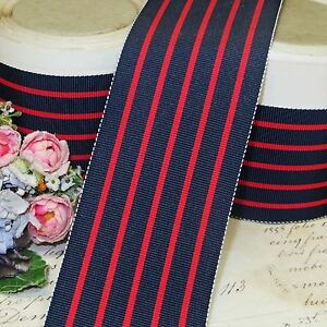 2 French Navy Blue Red Stripe Grosgrain Vtg Hat Ribbon Fedora Stetson Jacquard
