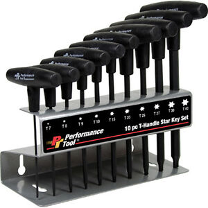 Performance Tool W80276 10 Pc T Handle Star Wrench Set 10 Piece