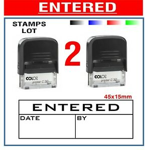 2 Lot Colop Self Inking Rubber Stamp Business Entered Date Account Store Free Pp