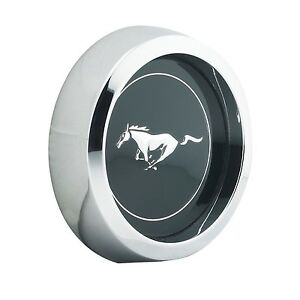 Ford Mustang Black Magnum 500 Style Pony Center Cap Chrome Bezel Running Horse