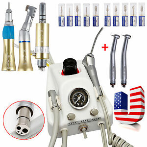 Dental Portable Air Turbine 2 High Speed Turbine Slow Handpiece Kit 10 drills