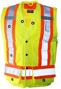 Men Yellow Reflective Working Surveyor Vest High Visibility Construction Large