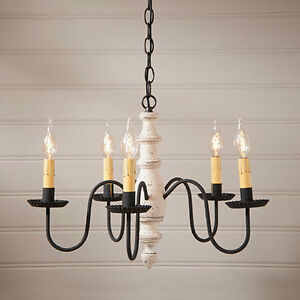 Country New 5 Arm American Vintage White Wood Chandelier Free Shipping