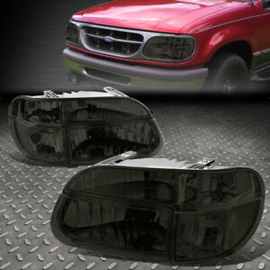 For 95 01 Ford Explorer Smoked Housing Clear Corner Headlight Bumper Head Lamps