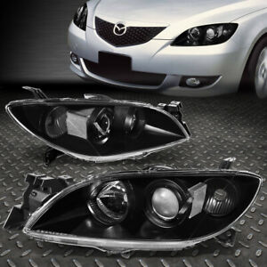 For 2004 2009 Mazda 3 Black Housing Clear Side Euro Projector Headlight Lamp Set