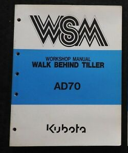 Original Kubota Ad70 Rotary Tiller Service Repair Manual Very Nice