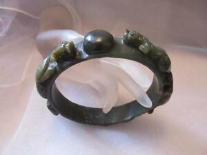 Antique Old Chinese Peerless Hand Carved Dragon Hetian Jade Arm Bracelet