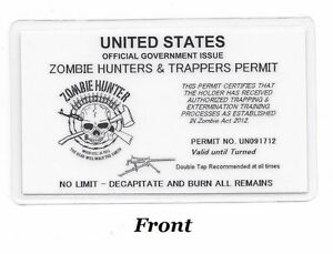 W w Zombie Hunters Trappers Permit Hunting Permit Carry Card Laminated L k
