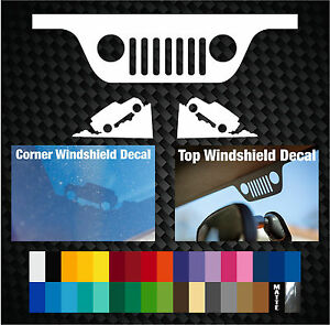 Jeep Wrangler Windshield Top Grill And Bottom Corner Replacement Window Decals