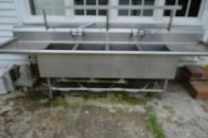 12 Ft Stainless Steel 4 Bay Commercial Sink
