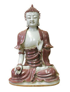 Vintage Chinese Red Glaze Porcelain Sitting Buddha With Bowl Statue Cs2875