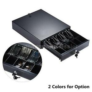 Heavy Duty Electronic Cash Register Drawer Case For Pos W 4 Bill 5 Coin Trays