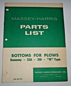 Massey Harris Plow Bottoms Pats Catalog Manual Book economy 23a 210 n Type