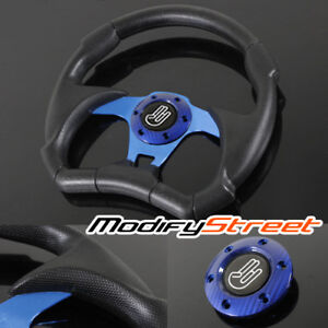 Universal 320mm 6 Bolt Pattern Blue Racing Sports Steering Wheel Jdm Horn Button