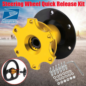 Universal Car Steering Wheel Quick Release Hub Adapter Snap Off Boss Kit Golden