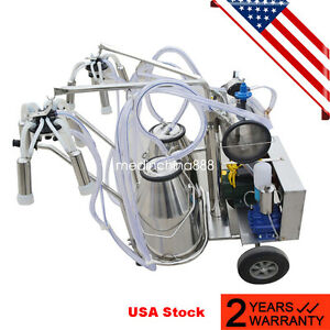us Electric Vacuum Pump Milking Machine For Farm Cows Double Tank Fast Ship
