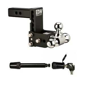 B W Hitches Adjustable Ball Mount W Tri Ball 5 8 Receiver Hitch Lock
