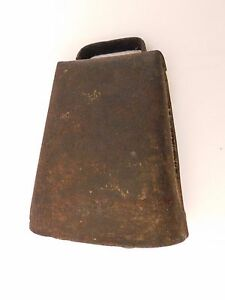Antique Cast Iron Cow Bell Farm Ranch Cow Bell Riveted Wrapped