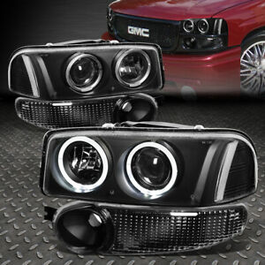 led Halo Rings for 2002 2007 Gmc Sierra Denali Black Clear Projector Headlight