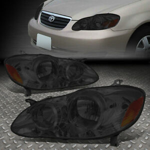 For 2003 2008 Toyota Corolla Pair Smoked Housing Amber Side Headlight lamp Set