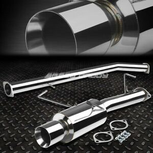 For 95 98 240sx S14 Bolt On Stainless Steel Catback Exhaust Muffler 4 Rolled Tip