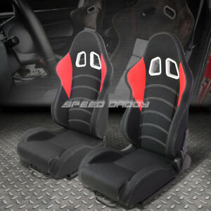 Pair Black red Trim stitch Reclinable Woven Fabric Type r Racing Seats W slider