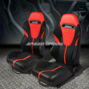 Pair Black Red Stripe Headrest Reclinable Leather Type R Racing Seats W Sliders