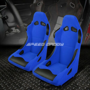 Pair Blue Base black Bolster Fixed Position Bucket Fabric Racing Seats W sliders
