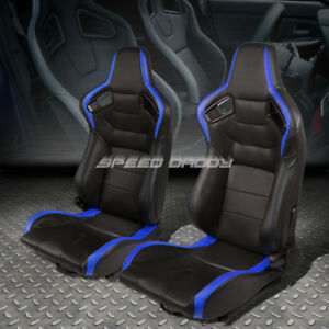 Pair Black blue Fully Reclinable Pvc Horizontal Stitch Racing Seats W sliders